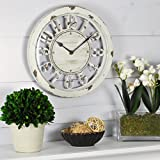 FirsTime & Co. Antique Farmhouse Contour Wall Clock, American Crafted, Distressed Ivory, 10 x 2 x 10, (10047)