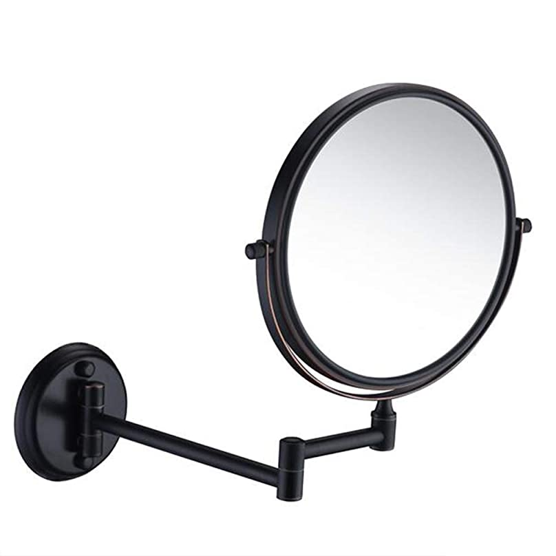 の関数空気HUYYA 化粧鏡、両面 壁掛け式 化粧ミラー 3倍拡大バスルームミラー360 °回転 伸縮可能折り けメイクミラー,Black_8inch