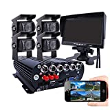 JOINLGO 4CH GPS 4G WiFi 1080P HDD Mobile Vehicle Car DVR MDVR Video Recorder Kit Remote Live View on PC Phone 4pcs 2.0MP Side Rear View IR Sony Camera 7 inch Monitor for Truck Bus RV Van