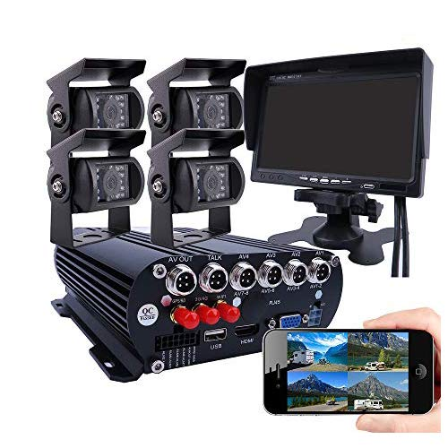 JOINLGO 4CH GPS 4G 1080P HDD Mobile Vehicle Car DVR MDVR Video Recorder Kit Remote Live View on PC Phone 4pcs 2.0MP Side Rear View IR Sony Camera 7 inch Monitor for Truck Bus RV Van