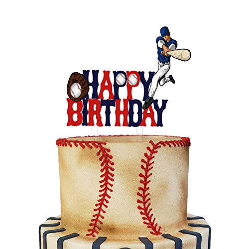 Acrylic Baseball Happy Birthday Cake Topper, Baseball Themed Birthday Party Cake Decoration, Baseball Sport Party Favor for Baseball Fans