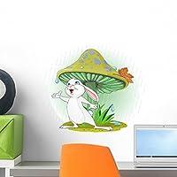 Cute Rabbit Wearing Rain Wall Decal by Wallmonkeys Peel and Stick Graphic (18 in W x 15 in H) WM209215 [並行輸入品]