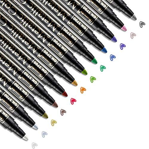RATEL Acrylstifte Marker Stifte, 12 Stck Wasserfeste Stifte Metallic Marker Stifte Permanent Marker Paint Pens Schnelltrocknend Premium Metallischen Stift Pens für Stein, Keramik- (2 mm Spitze)