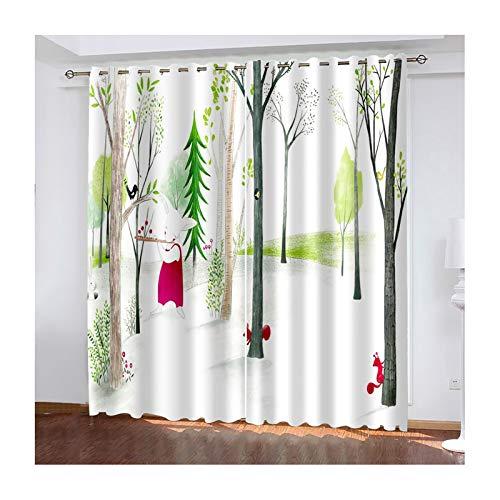 Beydodo Cortina Salon Poliester Cortinas Dormitorio 2 Piezas Árboles y Animales Verde Rojo Cortinas Dormitorio 264x115CM