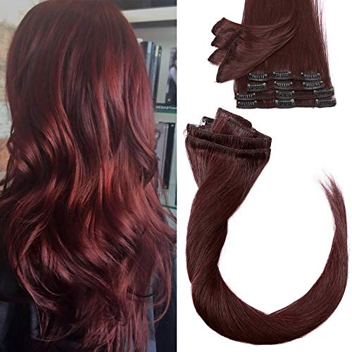 Clip in Human Hair Extensions 16 Inch 8Pcs Hair Pieces 100% Real Remy Hair...