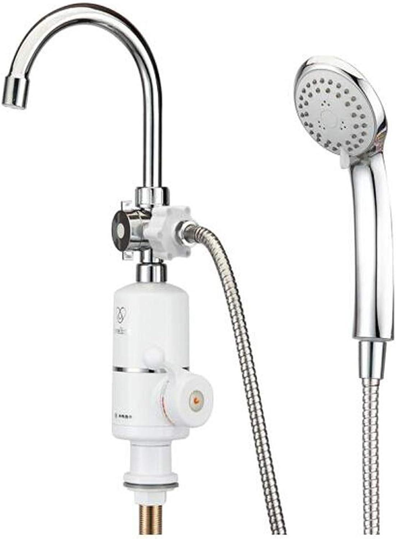 8HAOWENJU Wasserhahn, elektrischer Hahn, Duschmodell, unter Wasser, sofortige elektrische Warmwasserbereiter-Dusche Einfache Bedienung, (Farbe   Silber)