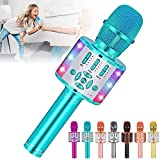 Amazmic Kids Karaoke Microphone Machine Toy Bluetooth Microphone Portable Wireless Karaoke Machine Handheld with LED Lights, Gift for Children Adults Birthday Party, Home KTV(Blue)