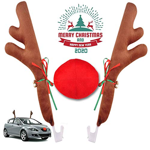Car Reindeer Antlers & Nose Christmas Costume Auto Decoration, Rudolph Reindeer Jingle Bell Added to Holiday Spirit by Angooni
