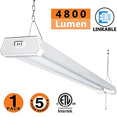 LED Shop Light for garages,4FT 4800LM,42W 5000K Daylight White,LED Ceiling Light, LED Wrapround Light, with Pull Chain (ON/Off),Linear Worklight Fixture with Plug, cETLus Listed 1PACK 50K