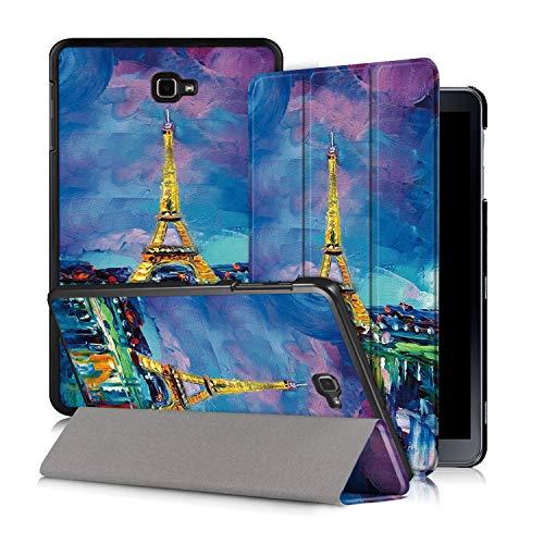 Xuanbeier Custodia per Samsung Galaxy Tab A 10'1 2016 SM-T580/T585 (A6) Ultra-sottile Cover con Funzione Supporto e Auto Sonno/Sveglia,Eiffel2