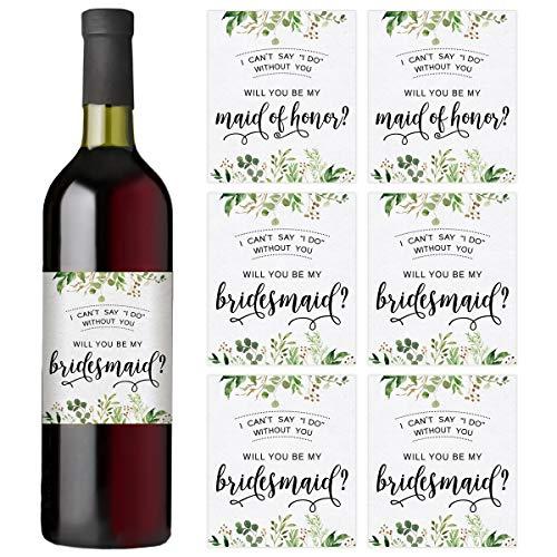 Weinflaschen-Etiketten, Set mit 7 Weinflaschen-Etiketten, 2 Maid of Honor Etiketten und 5 Brautjungfern-Etiketten, Brautpartygeschenke, Ideen und Geschenke, I Can't Say I Do Without You