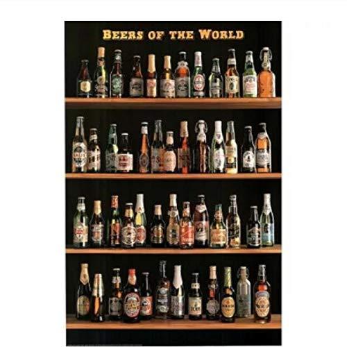 PDFKE Póster de Cervezas del Mundo, Pinturas al óleo, Impresiones en Lienzo, Arte de Pared para la decoración del Dormitorio de la Sala de Estar, 20x28 Pulgadas, sin Marco, 1 Uds.