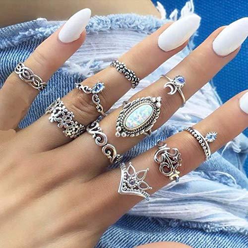 Zoestar Boho - Set di 10 anelli da dito in argento e opale vintage, con corona lunare impilabile, per donne e ragazze