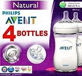 Biberones naturales con válvula anticólicos Philips Avent, 4 unidades, sin plásticos BPA, 260mlPara combinar lactancia materna y con biberón.