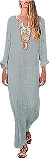 Estampado con Cuello en U, Vestido de Manga Larga para Mujer, Dobladillo Dividido, Vestido Suelto de Manga Larga y Pelo Largo