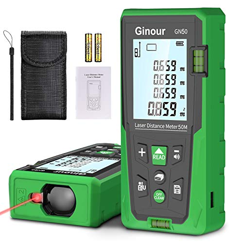 Laser Distance Meter,50M Ginour IP54 Laser Measure with 2 Bubble Levels, LCD Display Backlight, Portable Handle Digital Measure Tool Store 99 Data