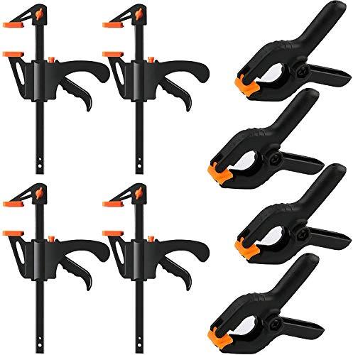8 Stück F-Klemmen Clips Set, Einhandzwinge Schnellspannzwinge Klemmzwinge Hochleistungs, Quick Grip Klemmen mit Nylon-Federklemmen ideal für schnelle und einfache Klemm-Anwendungen