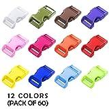 60パック - 12色 - 5/8インチ クイックサイドリリースプラスチックバックル