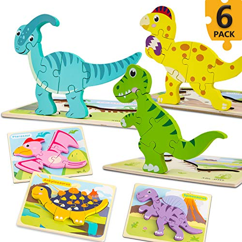 Toddler Puzzles, Aywewii 6 Pack Wooden Dinosaur Puzzles for Toddlers Kids 1 2 3 Years Old, Educational Preschool Toys Gifts for Boys Girls