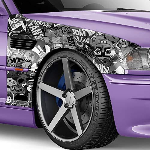 100x150cm Stickerbomb Auto Folie in schwarz/weiss Glanz - Sticker Logo Bomb - JDM Aufkleber - Design: Sponge