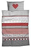 Casatex Fein-Biber-Bettwäsche Herz KARO im Landhausstil 135x200 cm Silber-rot