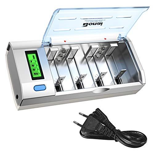 BONAI Chargeur de Piles Rapide, Chargeur Universel pour AA/LR6, AAA/LR3, C/R14, D/R20, 9V Ni-MH/Ni Batterie 4 Compartiments avec Écran LCD + Fonction...
