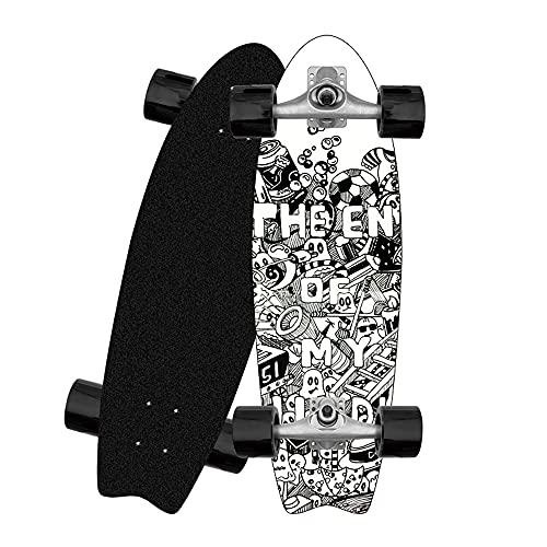 ZBYL Cruiser Skateboards Surfskate Deck Completa Carving Pumping Monopatin CX4 Truck 8 Capas de Maple Longboard con Rodamientos ABEC-9 para Principiantes Adultos y jóvenes 82 × 26cm