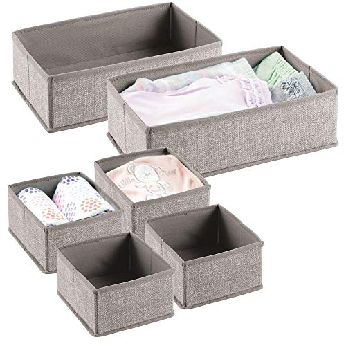 mDesign Juego de 6 cajas para guardar ropa – Organizador de armario en 2 tamaños para el dormitorio infantil – Cajas organizadoras de fibra sintética con diseño atractivo – beige