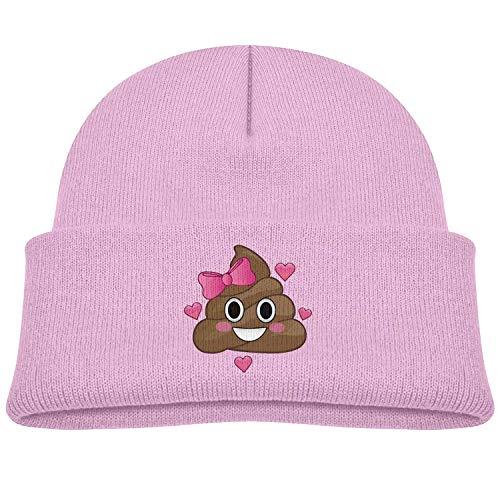 NR Poop Emoji Herz Rosa Schleife Kleinkind Hüte Winter Strickmütze Mütze Totenkopf, OneSize, Schwarz
