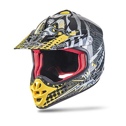 NENKI NK-303 Kinder Motocross Offroad Helm Für Kinder Dirt Bike (XXS  51-52CM, Schwarz Gelb)