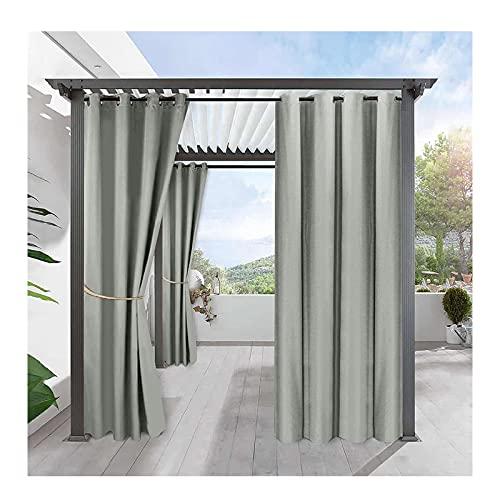 Duvets Outdoor vorhänge fürterrasse, Blickdichter Vorhang mit Ösen 2er Set Aussenvorhang,Outdoorvorhänge mit UV Schutz Winddicht für Pavilion Balkon Garten Patio (134X210 cm)