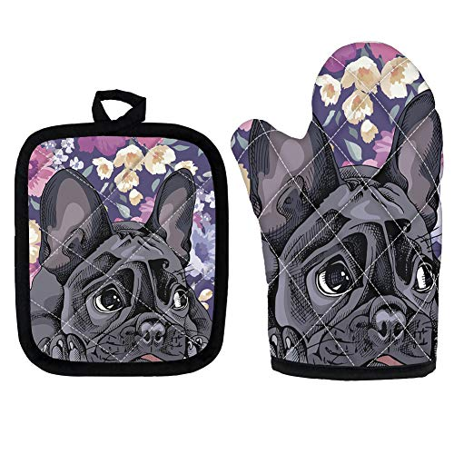 PZZ BEACH Funny Cartoon French Bulldog Flower Printed Kitchen Cooking Protector Golve and Mat, 2 Pcs Oven Mitts and Pot Holder