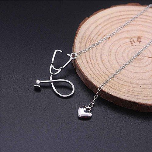 Elenxs Collar de Cadena de la aleación del corazón del Estetoscopio Unisex Colgante para el Doctor Enfermera