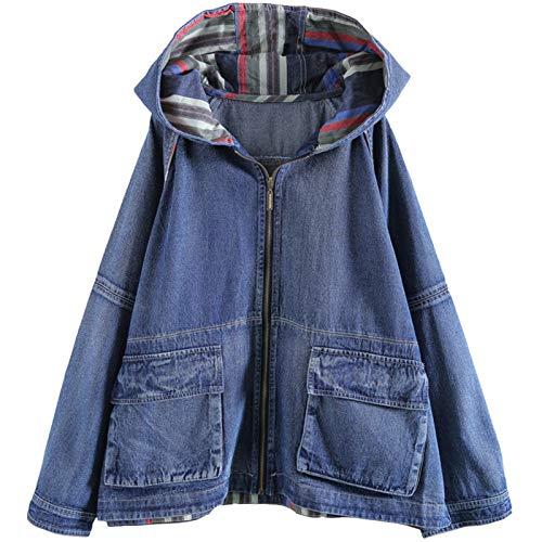 WUCHENG Wiosenna moda damska retro płaszcz damska przypadkowa luźna dżinsowa damska streetwear odzież plus rozmiar kurtki (Color : Blue, Size : One Size)