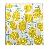 Tropisch Zitrone Muster Duschvorhang, Beständig Wasserdicht Polyester Stoff Bad Vorhang Zubehör 12 Haken 66x72 Zoll Zuhause Dekor