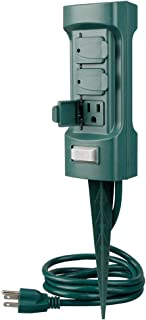 Plusmart 6 Outlet Outdoor Yard Power Stake Garden, 6ft Weatherproof Extension Cord, with Covers and On Off Switch, ETL Certified