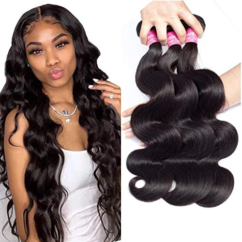 Brazilian Virgin Hair Body Wave Bundles 10A Grade Unprocessed Brazilian Human Hair Bundles 14 16 18inch Brazilian Body Wavy Hair Weave 3 Bundles Remy Hair Extensions Natural Black