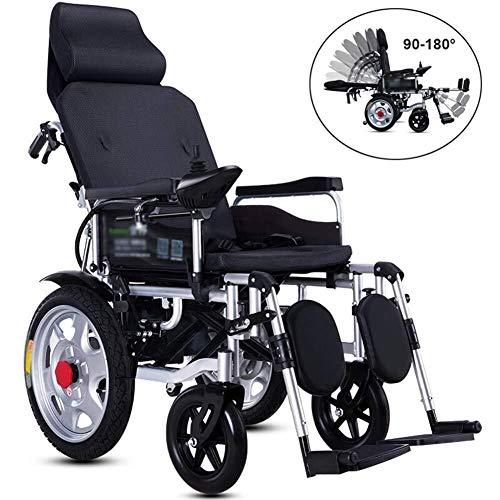 Silla de ruedas Eléctrica con Respaldo Reclinable, Eléctrica Movilidad Portátil Plegable Reposacabezas Ajustable
