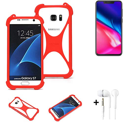 K-S-Trade® Handyhülle + Kopfhörer Für Cubot P201 Schutzhülle Bumper Silikon Schutz Hülle Cover Case Silikoncase Silikonbumper TPU Softcase Smartphone, Rot (1x),
