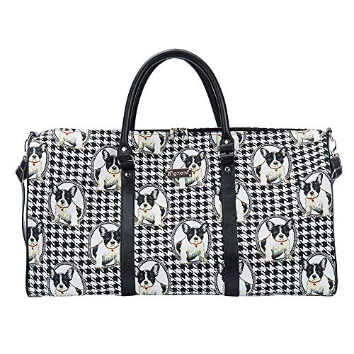 Signare Tapestry Large Duffle Bag Overnight Bags Weekend Bag for Women with French Bulldog Design (BHOLD-FREN)