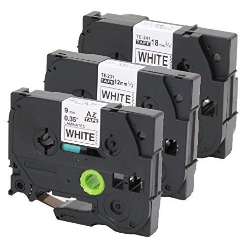 3er Set Schriftband kompatibel zu Brother TZe-221 9mm + TZe-231 12mm + TZe-241 18mm für P-Touch 1000W 1830 2730 D200 7100 2100 2030 1830 7600 VP 2430 1230 9700 PC 1090 2470 1290 1010 1080 1830 E100 P7
