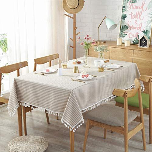 Algodón Y Lino Color Sólido Borla A Rayas Paño De Tabla Rectángulo Simple Mantel Cubierta De Mesa De Comedor Decoración del Hogar,C-60x60(24x24in)