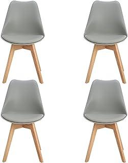 H.J WeDoo 4 x Wohnzimmerstuhl Esszimmerstuhl Bürostuhl mit Massivholz Buche Bein,Retro Design Gepolsterter Stuhl Küchenstu...