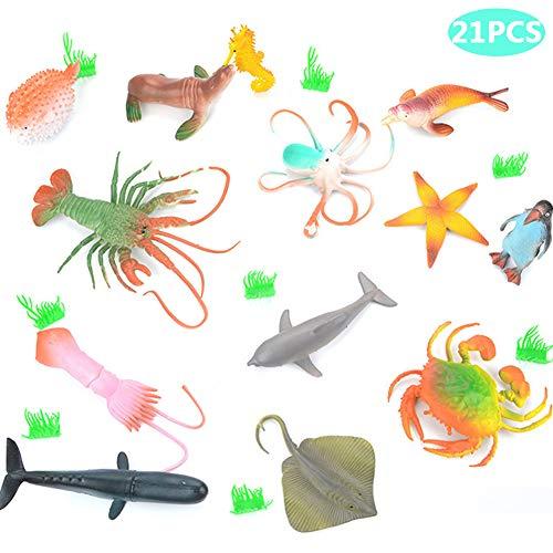 BESTZY 21pcs Groß Meerestiere Fische Deko Plastik Spielzeug Realistisch Unterwasser Tiere Badespielzeug MeerestiereFiguren für Kinder Zum Lernen Party Kuchen(10cm-20cm)