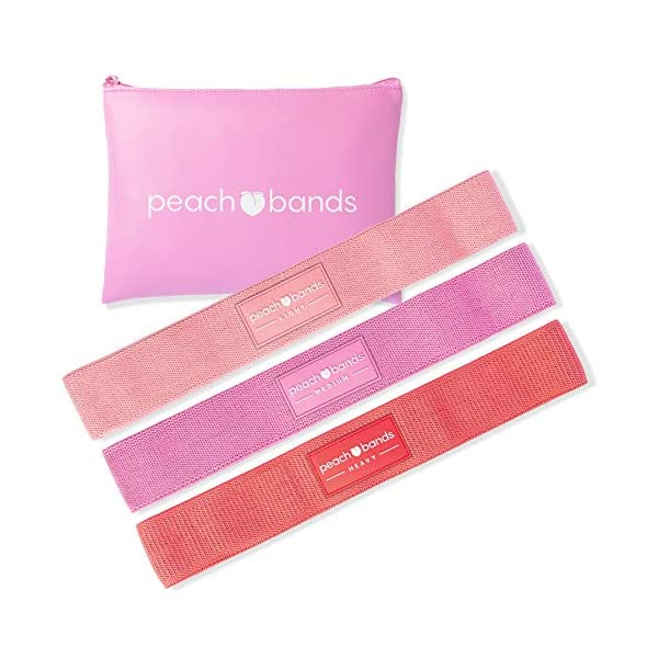PEACH BANDS Hip Band Set – Fabric Resistance Bands – Exercise Bands for Leg and Butt Workouts
