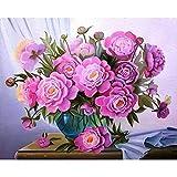 FBDBGRF Pintar por Número Flores Rosadas para Adultos Y Niños DIY Kit De Regalo De Pintura Al Óleo con Juego De Pintura Digital para Decoración del Hogar Lienzos para Pintar