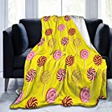 Adult Kids Flannel Fleece Throw Blanket Seamless Sweet Round Candy Lollypops with Stripes Pattern Warm Fuzzy Couch Sofa Bed Lightweight Blanket
