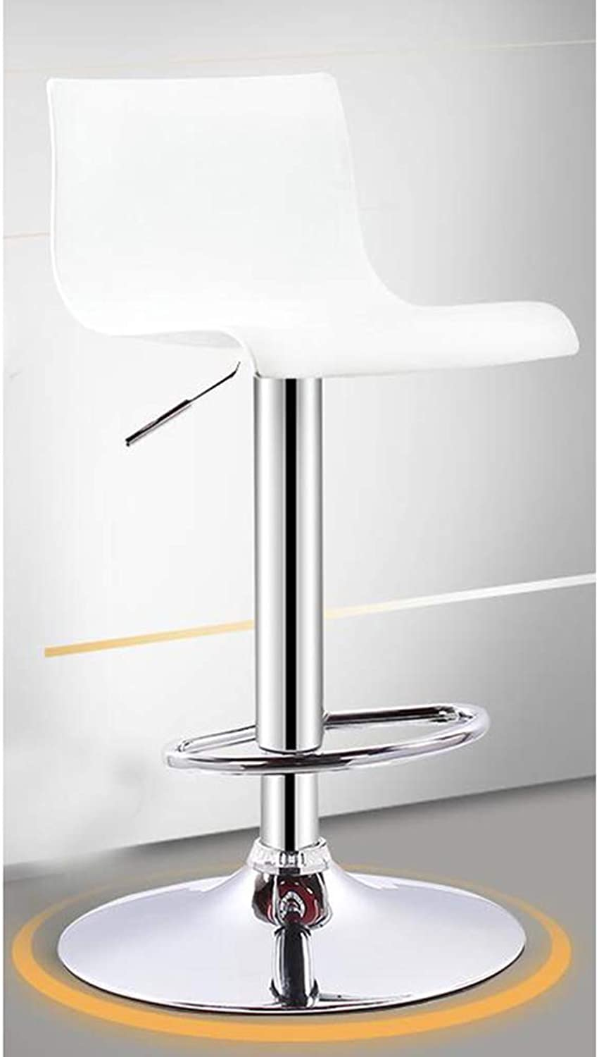ASJHK Adjustable Height Household Kitchen Swivel Chair with backrest high Stool pp seat Material Metal Gas Rod Black and White Bar Stool (color   White)