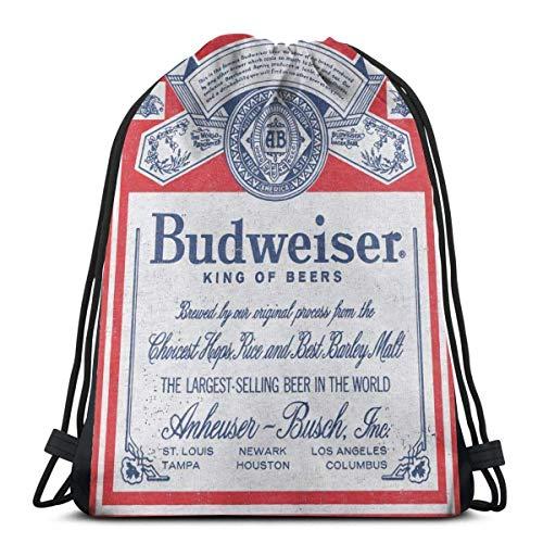 XCNGG Budweiser Beer Graphic Drawstring Backpack Bag Beam Gym Bag Men and Women Shoulder Bag