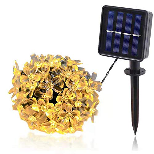 CHANG Solar String Lights,6.5cm 8 Modes 30 LED Blossom Solar Powered Fairy Lights Waterproof Outdoor Flower String Lights for Patio, Yard, Tree, Home, Lawn, Wedding, Party Decoration (Warm White)
